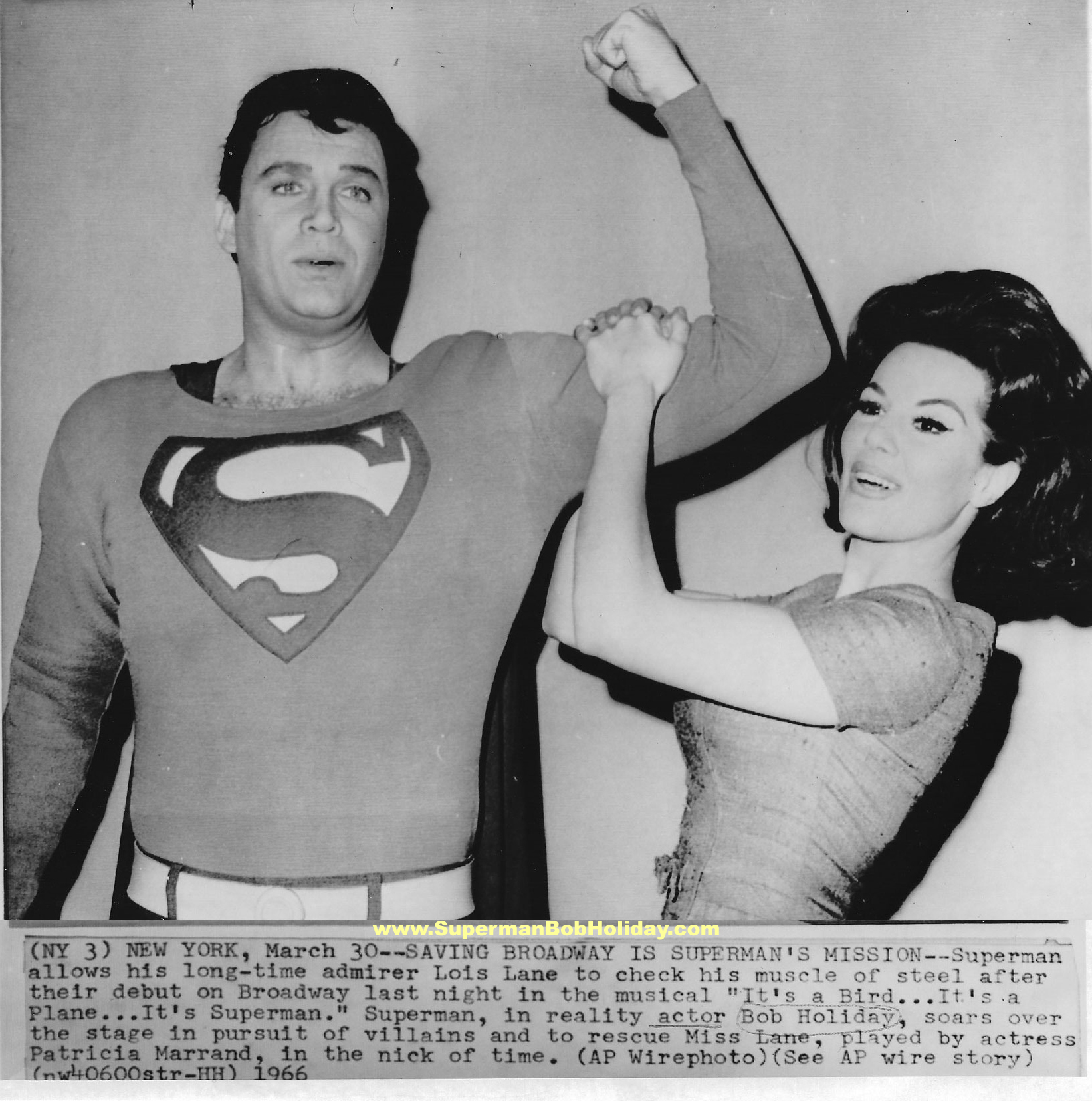 Superman and Lois Lane show off for the cameras.